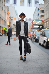 Gianni Sarracino - H&M Leather Jacket, Givenchy Nightingale Tote, Balenciaga Derby Buckle Shoes - (Central) LONDON STREET STYLE