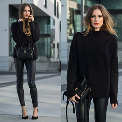 Lisa Fiege - Forever 21 Bag, Zara Sweater, Buffalo Boots Pumps, H&M Leather Pants - It's a dark thing