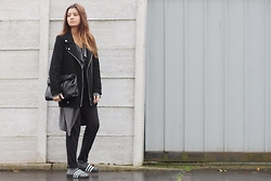 Eleftheria L - Zara Jacket, Lookbookstore Cardigan, Zara Bag, Topshop Jumpsuit, Adidas Sliders - Slouch