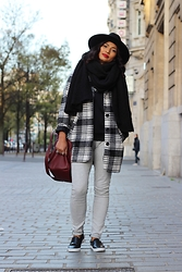 Karen Rakoto - Forever 21 Coat, Monki Slip On, Monki Black Hat - Plaid coat