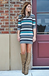Christine Tarver - French Connection Uk Striped Sweater Dress, Lily & Laura Beaded Bracelet - Striped