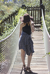 Jenna O - Dad's Flannel, Vintage Hat, Brandy Melville Usa Top, Aldo Sandals - Flannel Shirt as a Skirt