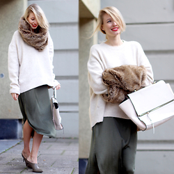 Leonie Hanne - Zara Furry Loop, Zara Heels, Zara Knit, Zara Dress, Zara Trapeze Bag - Furry Affairs