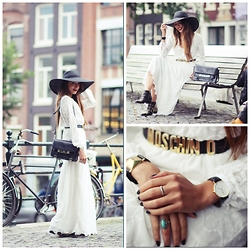 Virgit Canaz - Zara White Dress, Chloé Susanna Boots, Proenza Schouler Bag, H&M Floppy Hat, Moschino Belt - Lady in white