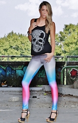 Vanny D. - For Rebels Only Skull Shirt, For Rebels Only Rainbow Leggings - Skull