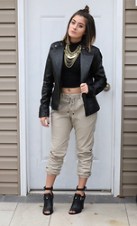 Amanda Warda - Forever 21 Leather Joggers, Guess? Leather Jacket, Forever 21 Coined Necklace, Guess? Booties - Reinvention