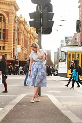 Sara-May Selten - Zara Top, Topshop Midi Skirt, Nine West Pumps, Micheal Kors Watch - The city is a jungle