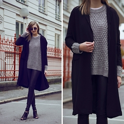 Katarina Vidd - Yoins Coat, All Items On My Blog - Grey knitwear x YOINS.