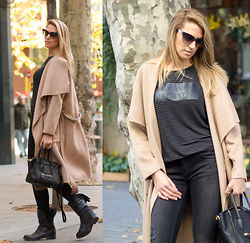Vanessa Basanta - Zara Camel Coat, Zara Stripes Shirts, Artigianato Haliano Black Boots - New Blog Design! - tunuevolook.com