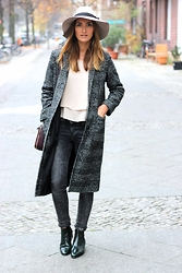 Sofia Grau - Iro Jeans, The Collective Coat, Scarosso Chelsea Boots, Urban Outfitters Cream Fedora - Boyfriend Coat