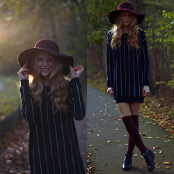 Simone Shares - Primark Pinstripe Sweater, Primark Burgundy Floppy Hat, Forever 21 Burgundy Overknees, New Look Cut Out Boots - PINSTRIPE SWEATER