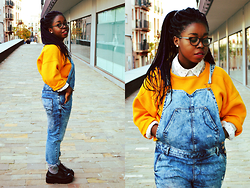 SOL B. - Firmoo Glasses, Local Store Anchor White Shirt, Zara Yellow Sweater, Lefties Denim Overalls, Sammydress Platform Shoes - IT COULD BE ALL SO SIMPLE BUT YOU'D RATHER TO MAKE IT HARD