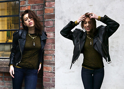 J o e . - Vintage Leather Jacket, Weekday Mesh + Sweater, Urban Outfitters Jewelry, Lee Jeans - November layers