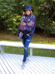 Michelle Orsi - Cotton On Hat, Cotton On Scarf, Piperlime Collection Sweater, C Wonder Bag, Citizens Of Humanity Jeans, French Connection Uk Boots - Moments of Chic