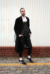 Geraint Donovan-Bowen - Vivienne Westwood Coat, Topman Shirt, Topshop Dungarees, American Apparel Socks, Oliver Sweeney X Matthew Miller Cutout Shoes - His Name Is Updated