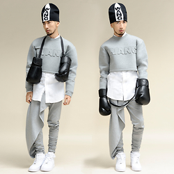 Andre Judd - Alexander Wang Beanie, Alexander Wang Boxing Gloves, Alexander Wang Cropped Bonded Jersey Top, Dolce & Gabbana Button Down Shirt, Dimple Lim Heathered Jersey Trousers With Drape, Nike Airforce 1 - BOXING SESSION