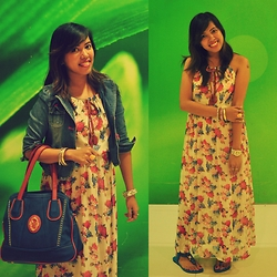 Venus Smileygal - Ai Online Shop Floral Maxi Dress, Roem Girls Denim Jacket, Ai Online Shop Floral Watch, Maiyet Blue Bag - Floral