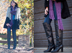 Erika Marie - Asos Ombre Two Tone Faux Fur Coat, H&M Thigh High Over The Knee Boots, Forever 21 Purple Scarf, Hudson Skinny Jeans, Shiraleah Clutch - STOMPIN' BOOTS! ;)