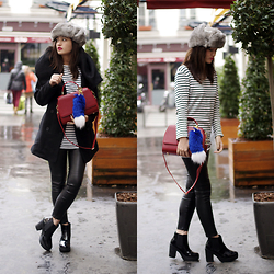 Nikita Wong - Zara Striped Top, Florian London Red Bag, New Look Shiny Boots - Chapka and Fur