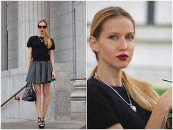 Liya Atanasova - Review Fluffy Top, Prototype23 Rubber Pleated Skirt, Sonia Rykel Leather Bag, Michael Kors Leather Heels, H&M Necklace - School girl - coquettish edition