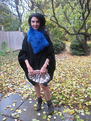 Well-Put-Together WPT - Adrienne Landau Scarf, From Somewhere Cape Coat, Red Valentino Clutch, Sam Edelman Booties - Blue Fur
