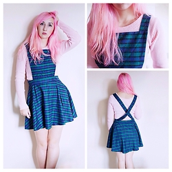 Tilly Kozimor - Lavish Alice Tartan Pinaforw, Daisy Street Pinafore, Missguided Ribbed Crop Top - Pink Tartan