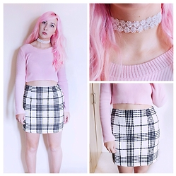 Tilly Kozimor - Missguided Check Skirt, Missguided Ribbed Crop Top, Asos Lace Choker - Pink Checks