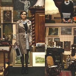 Marijana M - Choies Skirt, Choies Blouse, Choies Necklace, Ps Fashion Bag, Bcbg Ankle Boots, Ps Fashion Trench Coat - Dinner at Art Deco