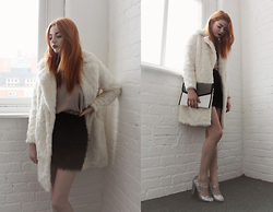 Hannah Louise - River Island Faux Fur Coat, River Island Silky Cami, River Island Tinsel Skirt, Parcel And Journey Clutch, Primark Glitter Shoes - New Year's Eve - Party Idea
