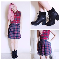 Tilly Kozimor - Asos Tartan Skirt, Ark Clothing Tartan Sleeveless Crop, Primark Boots - Double Tartan