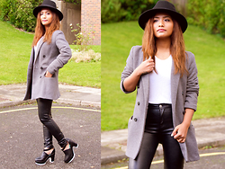 Suzi Shrestha - Prettylittlething Trousers, New Look Hat, Forever 21 Coat - Grey Hues