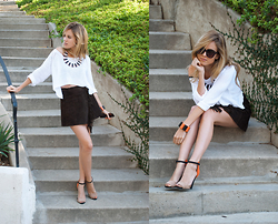 Linda Lind - Zara Heels, Vintage Suede Skirt, Kaitlyn Sweater - Pumpkin spiced hot chocolate