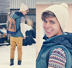 Edgar - Primark Brown Backpack, Primark Brown Leather Boots, Primark Mustard Color Pants, Primark Light Sweater, H&M White Beanie, New Look Greem Gilet - YOU TAKE MY BREATH AWAY