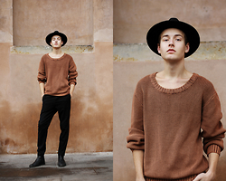 Patrick Pankalla - Dr. Denim Chunky Knit, Weekday Trousers, Brett & Sons Chelsea Boots, H&M Fedora Hat - Black & Brown