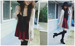 Taylor Wong - Forever 21 Floppy Hat, Garage Knit Cardi - Winter chic