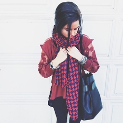 Alexandra Diana - J. Crew Houndstooth Scarf, Free People Romantics Top, Louis Vuitton Bucket Bag, Lululemon Daily Jegging - Red on Crimson | Lace on Leather
