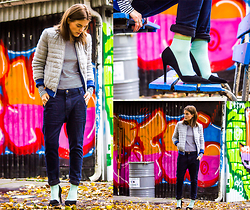 Ingrid Wenell - Sisley (Italy) Jacket, H&M Boyfriend Jeans, H&M Socks, Have2have Shoes, Weekday Striped Sweater - Colors makes me happy!