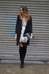 Gemma Talbot - In Love With Fashion Duster Coat, River Island Skirt, Topshop Boots, Whistles Bag, River Island Pom Pom, Topshop T Shirt - Metallic and Shine