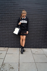Iga W - Zara Sweatshirt, Zara Skirt, Zara Booties, United Colors Of Benetton Bag - Love me harder