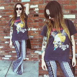 Sally S - Pylo Bell Bottoms, Vintage Metallica T Shirt, Amazon Round Sunglasses - Damage Inc