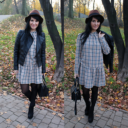 Violetta Z - Dress Made By Me, Sheinside Black Leather Jacket, H&M Hat - Brown plaid