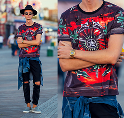Chaby H. - Givenchy Spitfire Fighter Printed T Shirt, Gas Denim Shirt, Axelarigato Ponyhair Slipon, Masamod Fedora Hat, Casio Gold Vintage Watch, Vintage Ripped Jeans - WAR AT THE SUNSET / NYC