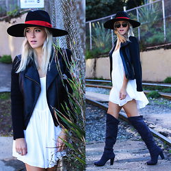 Bryn Newman (Stone Fox Style) - Azalea Flouncy White Boho Dress, Buffalo Exchange Wide Brim Hat, Nine West Thigh High Boots, Others Follow Faux Leather Moto Jacket - Thin Copper Pennies xxx Stone Fox Style