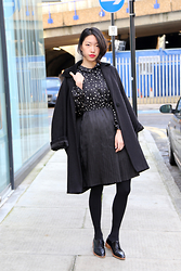 Evan L - Even Vintage Blouse Dress, Vintage Coat - 40's black