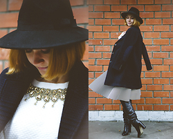 Lidia ♫♪♫ - Customellow Coat, Chic Wish Skirt, Asos Boots -  striped passion