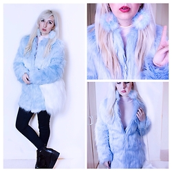 Tilly Kozimor - Boohoo Longline Pastel Blue Fur Coat, Depop  Kyliejanee White Fluffy Bag, Instagram User  Futuristicmeg Fluffy Earrings, Missguided Pale Pink Turtle Neck - Faux Fur Overload