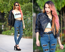 Wicked Ying NEW - Black Five #Babe Cropped Top, Sheinside Leather Jacket, Vaintageph Highwaisted Jeans, Ray Ban Wayfarers - #BABE