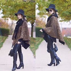 Julia Weber - Nine West Boots, Juicy Couture Purse, Tj Maxx Cape, Forever 21 Floppy Hat, Wildfox Scarf, Forever 21 Sunglasses - Leopard Love