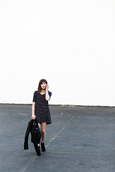 Rima Vaidila - Reformation Stripe Swing Dress, Blk Dnm Motorcycle Leather Jacket, Diesel Suede Ankle Booties - Navy stripes & leather
