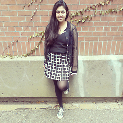 Maha Hawk - Forever 21 Sheer Varsity Jacket, Forever 21 V Neck Chiffon Dress, Forever 21 Window Pane Skirt, Forever 21 Black Converse Sneakers - Varsity Girl
